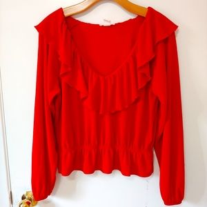 H&M Red Ruffled Blouse
